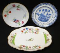THREE ITEMS OF SWANSEA PORCELAIN (A/F) comprising oval dish decorated in enamels with chained