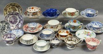 A COLLECTION OF 19TH CENTURY WELSH TEA CUPS & SAUCERS including Llanelly, Ynysmeudwy, Glamorgan