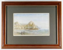 J HARRIS watercolour - Three Cliffs Bay, Gower with two figures, signed, 17 x 28cms Provenance: