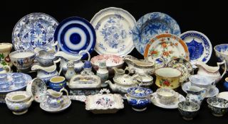 LARGE ASSORTMENT OF ANTIQUE WELSH POTTERY TABLEWARE, Llanelly, Swansea and Ynysmeudwy items,