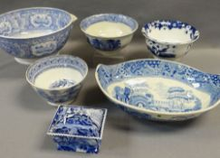 ASSORTED WELSH BLUE & WHITE TRANSFER POTTERY including Ynysmeudwy and Swansea Cambrian, bowls ETC