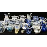 COLLECTION OF VARIOUS ANTIQUE WELSH POTTERY JUGS, painted and transfer printed, Llanelly, Swansea