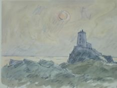 SIR KYFFIN WILLIAMS RA coloured limited edition (369/750) - Llanddwyn Lighthouse Anglesey at sunset,