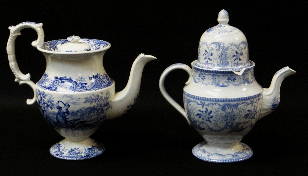 SWANSEA POTTERY COFFEE POT IN THE BLUE & WHITE TRANSFER 'COTTAGE GIRL', of bellied and footed - Image 2 of 2