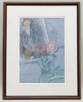 GORDON STUART mixed media - figure and flowers, inscribed to the mount 'Homage to Modigliani',