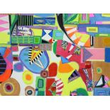 DANIEL MEAKIN mixed media on box canvas - abstract entitled 'Visual Studies Around the House',