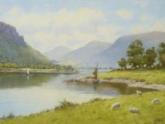 WARREN WILLIAMS ARCA watercolour - The River Conwy near Tyn y Groes with two yachts and grazing