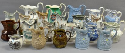 COLLECTION OF ANTIQUE WELSH POTTERY JUGS, including a trio of Glamorgan pottery, graduated trio