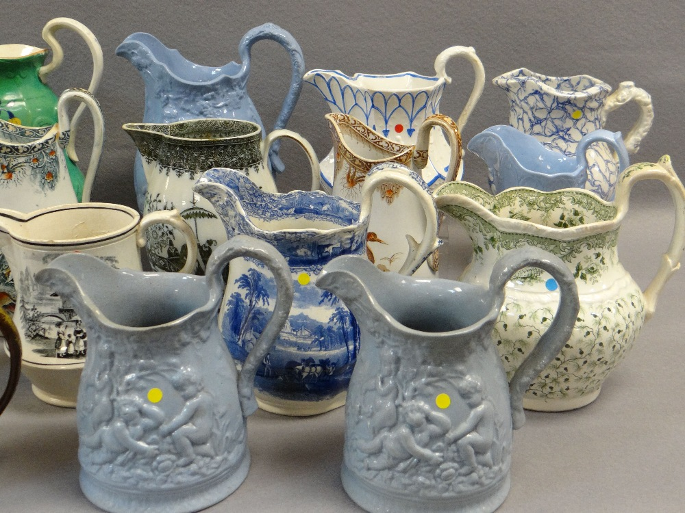 COLLECTION OF ANTIQUE WELSH POTTERY JUGS, including a trio of Glamorgan pottery, graduated trio - Image 2 of 4