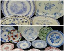 ASSORTED SWANSEA POTTERY PLATTERS & PLATES, including turkey platter, pearlware platter with