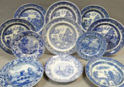 VARIOUS ANTIQUE BLUE & WHITE TRANSFER PLATES / DISHES with Swansea items including 'Ladies of