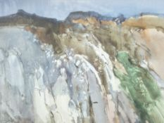 JOHN BLOCKLEY watercolour - craggy Nant Ffrancon mountain scene, signed and dated label verso