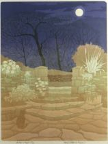 BERNARD GREEN limited edition (47/50) linocut - entitled in pencil 'Garden at Night', signed and
