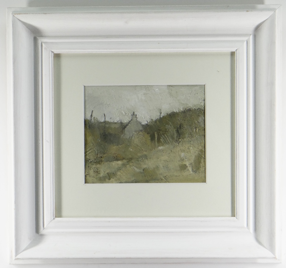 GORDON STUART acrylic - landscape with gable end of house, 18 x 22cms NB: Located for viewing / - Image 2 of 2