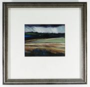 PETER DANIELS oil on board - landscape with rain, dated verso 1998, 14 x 17cms NB: Located for