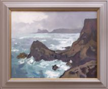 GARETH THOMAS oil on board - Welsh coastline, entitled verso by artist hand 'View Over the Knave',