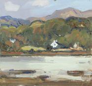 GARETH THOMAS oil on board - Welsh cottages by coastline, signed, unframed, 23.5 x 25cms