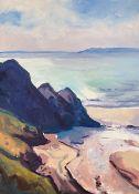 GARETH THOMAS oil on canvas - Gower coastline, Three Cliffs, unsigned, unframed, 70 x 50cms