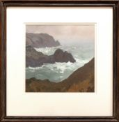 GARETH THOMAS oil on board - Gower coastline, entitled verso 'Above Three Cliffs', signed verso,