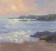 GARETH THOMAS oil on paper - coastline sunset, signed, unframed, 25.5 x 27.5cms