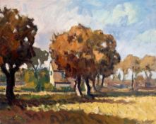 GARETH THOMAS oil on canvas - French landscape with building, entitled verso by artist hand '