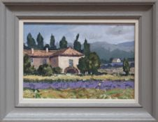 GARETH THOMAS oil on canvas - French landscape with villa, entitled verso by artist hand 'Lavender
