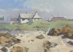 GARETH THOMAS oil on board - beach with houses, unsigned, unframed, 28.8 x 40.5cms