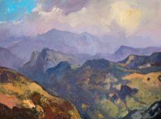 GARETH THOMAS oil on canvas - Eryri landscape, entitled verso by artist hand 'Morning Light Over