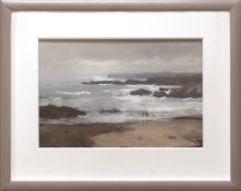 GARETH THOMAS pastel - two figures on Anglesey beach with coastline, entitled verso 'Light