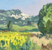 GARETH THOMAS oil on board - French landscape, signed, unframed, 32.5 x 34cms