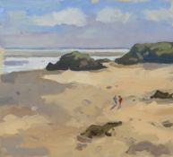 GARETH THOMAS oil on board - two figures in coastline, signed, unframed, 25.5 x 28cms