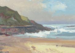 GARETH THOMAS oil on board - Welsh coastline, signed, unframed, 25.5 x 35cms