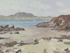 GARETH THOMAS oil on board - Welsh coastline with houses, unsigned, unframed, 31 x 41cms