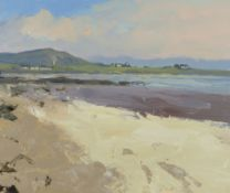 GARETH THOMAS oil on board - coastline with houses, signed, unframed, 32 x 38cms