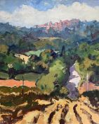 GARETH THOMAS oil on canvas - French landscape with village, entitled verso by artist hand 'Toward
