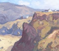 GARETH THOMAS oil on board - houses on hills by Gower coastline, signed, unframed, 29 x 33.5cms