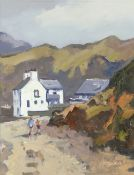 GARETH THOMAS oil on board - figures by cottage in landscape, signed, unframed, 31 x 24cms