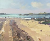 GARETH THOMAS oil on board - Welsh beach scene with figures, signed, unframed, 26.5 x 32cms