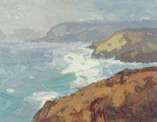GARETH THOMAS oil on board - coastline, signed, unframed, 32.4 x 41cms