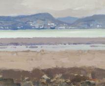 GARETH THOMAS oil on board - beach scene, unsigned, unframed, 26.5 x 32.3cms