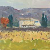 GARETH THOMAS oil on board - French villa in the countryside, signed, unframed, 25.1 x 25.1cms
