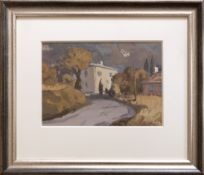 GARETH THOMAS oil on board - French village scene, entitled verso by artist hand 'Road to Les