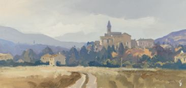 GARETH THOMAS oil on board - French countryside with buildings, signed, unframed, 23 x 27.5cms