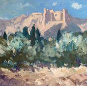 GARETH THOMAS oil on canvas - French landscape scene, entitled verso by artist hand 'Les Baux-De-