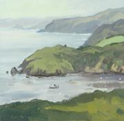 GARETH THOMAS oil on board - rugged coastline with boat, signed, unframed, 24.3 x 25.1cms