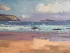 GARETH THOMAS oil on canvas - Welsh coastline, unsigned, unframed, 30.5 x 40.5cms