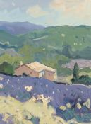 GARETH THOMAS oil on board - French villa in the countryside, signed, unframed, 32 x 23.5cms
