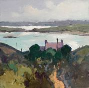 GARETH THOMAS oil on canvas - Scottish coastline, entitled verso by artist hand 'Sunlight, Isle of