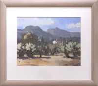 GARETH THOMAS oil on board - Provence landscape with building, entitled verso 'White House Near
