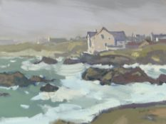 GARETH THOMAS oil on board - Welsh coastline with houses, signed, unframed, 24.5 x 32cms
